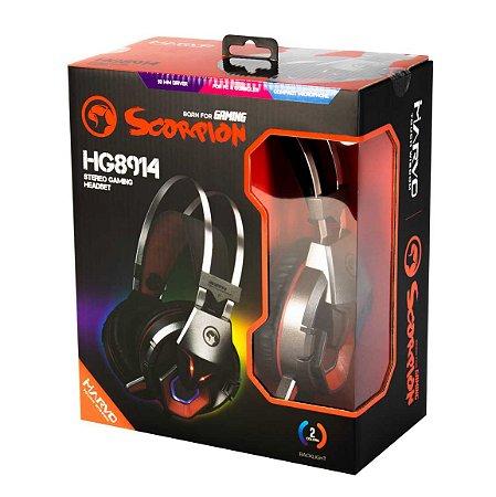 Headset Gamer Marvo Scorpion HG8914 Preto e Vermelho