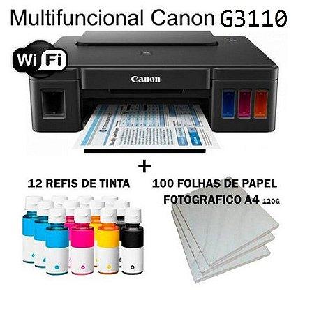 Multifuncional Canon Maxx Tinta G3110 Wi-fi c/ 12 Refis de Tinta + 100 Fls Papel Fotografico A4 +Nf