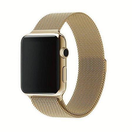 Pulseira Loop Milanese Malha de Aço P/ Apple Watch 42mm | 44mm Dourado