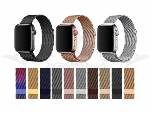 Pulseira Loop Milanese Malha de Aço P/ Apple Watch 42mm | 44mm Dark Gold Retrô