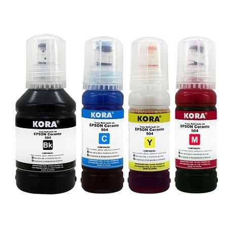 Kit Refil Tinta com 04 Cores Epson L6161 L4150 L4160 L6191 L6171 T504 K M Y C Compativel Kora