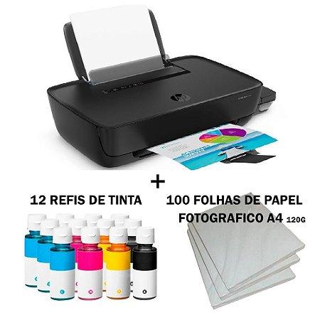 Impressora Hp Tank 116 c/ 12 Refis de Tinta + 100 Fls Papel Fotografico +Nf