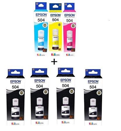 Kit 7 Refil Tinta Original Epson L6161 L4150 L4160 L6191 L6171 T504