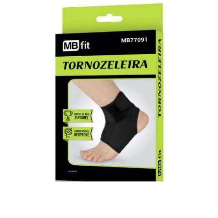 Tornozeleira Ajustável E Flexível Preta Com Velcro Neoprene