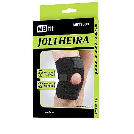 Joelheira ajustável E Flexível Preta Com Velcro Neoprene