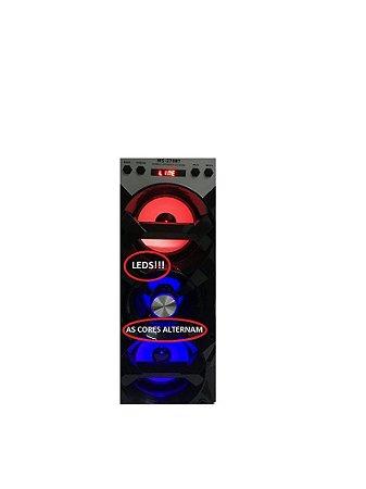 Caixa De Som Bluetooth 12w Sd Usb Fm Mic Led Dj C/ Baterial Lithium Mb54219