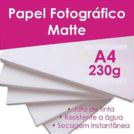 Pct Com 100 Folhas A4 Papel Fotografico Matte Fosco 230g