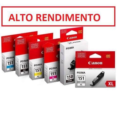 Kit 6 Cartucho XL Original Canon Ip8710 Cli151XL Cli-151XL pgi150xL pgbk Ip8710