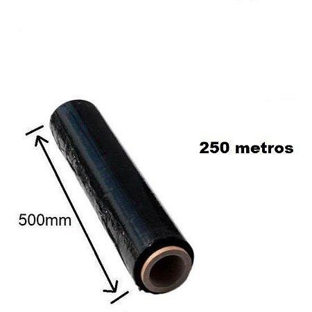 4 Bobinas Filme Stretch 50 Cm X 250 Metros Preto