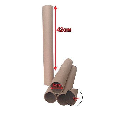 50 un Tubo Postal Tubete Canudo Papelão Sedex 42cm X 6 Ø Sem tampa
