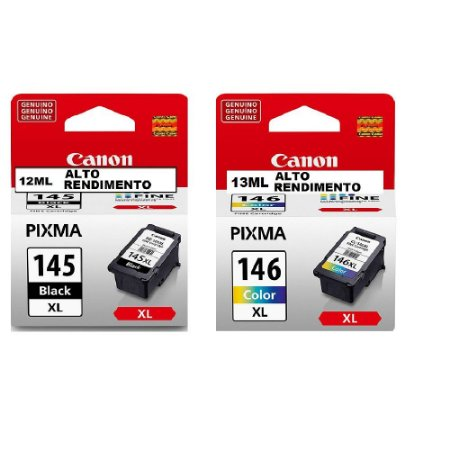 Combo Cartucho Original Canon Pg145XL Pg 145XL Preto 12ml + Cl146XL Cl 146XL 13ml
