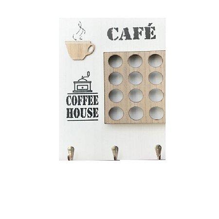 Quadro Porta Cápsulas de Café com 12 compartimentos Branco 34x24cm