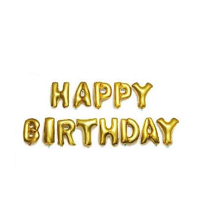 Kit Balão Metalizado Happy Birthday Dourado 40cm | 13 letras