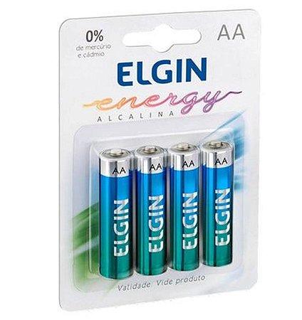 Pilha Alcalina Blister C/4 unidades AA - Elgin Original