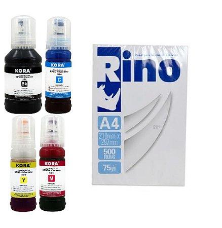 Kit Refil Tinta com 04 Cores Epson L3150 L3110 T544 K M Y C + Resma