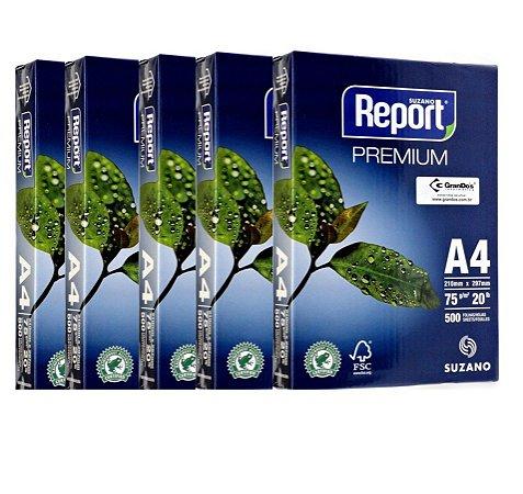 Kit 5 Resma Papel A4 500fls REPORT 75g