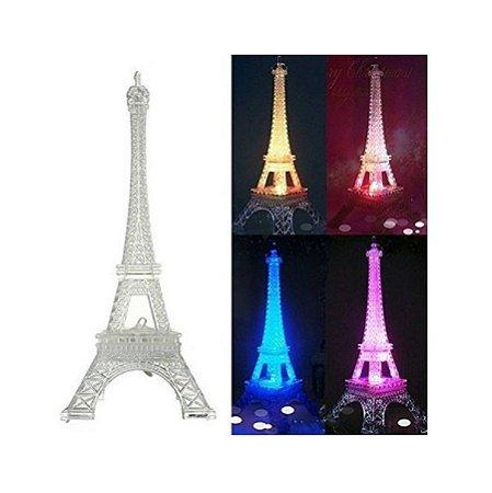 Torre Eiffel Em Acrilico Com Led Miniatura Cores 25cm