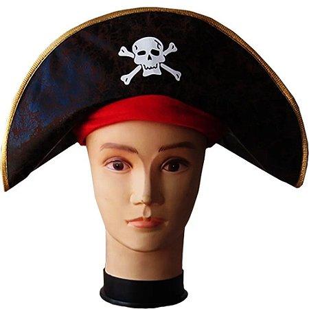 Chapéu Pirata Preto Borda Dourada Det Vermelho Halloween