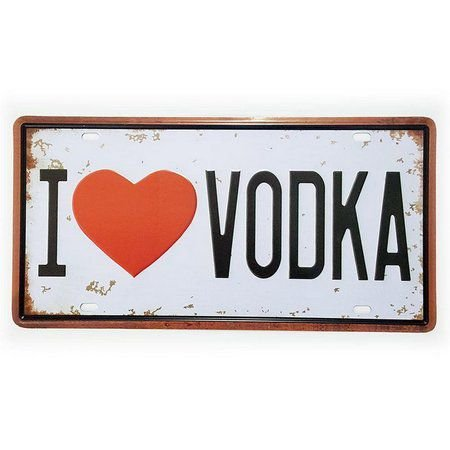 Placa De Carro Decorativa I Love Vodka Em Metal Alto Relevo