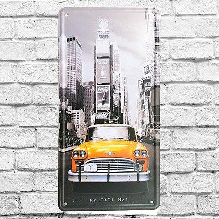 Placa Carro Decorativa Metal Taxi Amarelo New York nº1 alto relevo