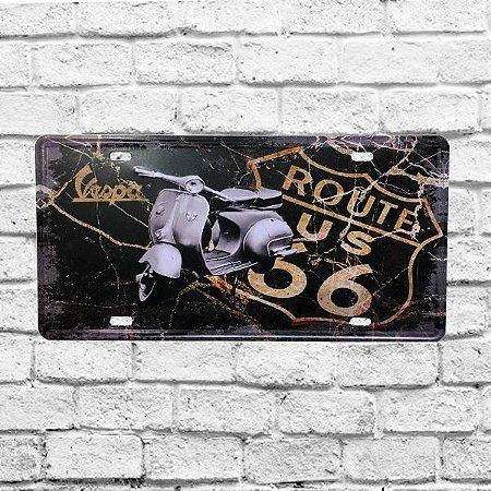 Placa Carro Decorativa Moto Lambreta Rota 66 Alto Relevo