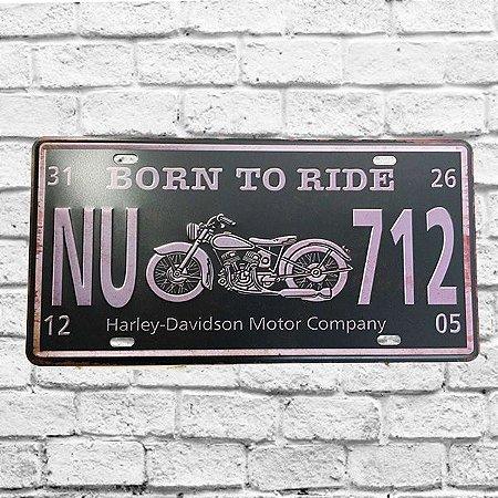 Placa Carro Decorativa Moto Born To Ride Alto Relevo