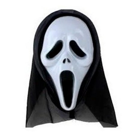 Máscara Pânico de Plástico P/ Festa Halloween C/ Capuz