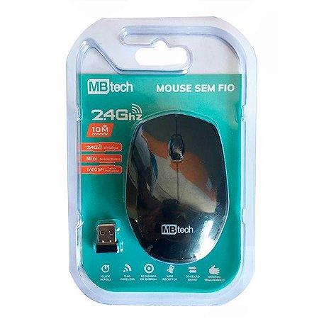 Mouse Sem Fio Wireless 2.4 Ghz C/ 10m De alçance Preto