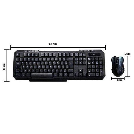 Combo Teclado e Mouse Sem Fio De Entrada USB Preto