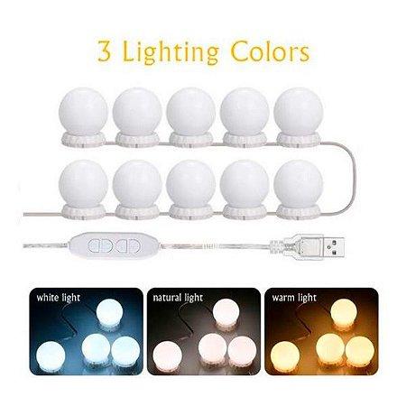 10 Lâmpadas Led Luzes De Espelho Maquiagem Camarim USB
