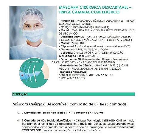 1200un Máscara Cirúrgica Tripla Descartável Azul Wk-Flex Anvisa Atacado