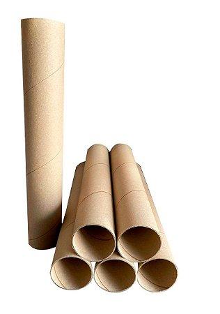 3un Tubo Postal Tubete Canudo Papelão 35 x 7,3cm Ø Sem tampa
