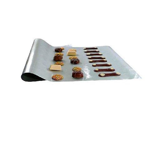 4x Folha Teflon Prata Antiaderente Forno Biscoitos 30x40 Cm