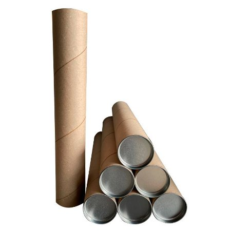 10x Tubo Postal Tubete Canudo Papelão 86cm x 7,3cm Ø Com Tampa Metal