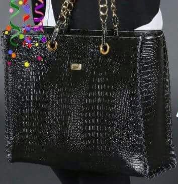 Bolsa Feminina Croco em Couro  Legítimo Shopper Super Leve