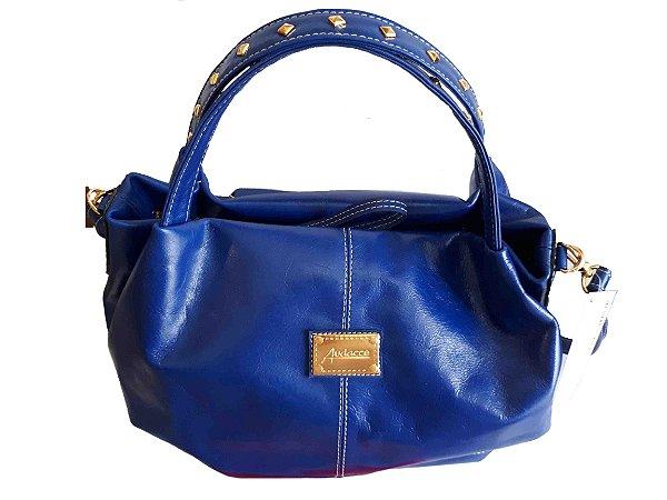 Bolsa Feminina Couro Legítimo Estilo Saco Azul com Metais de Luxo