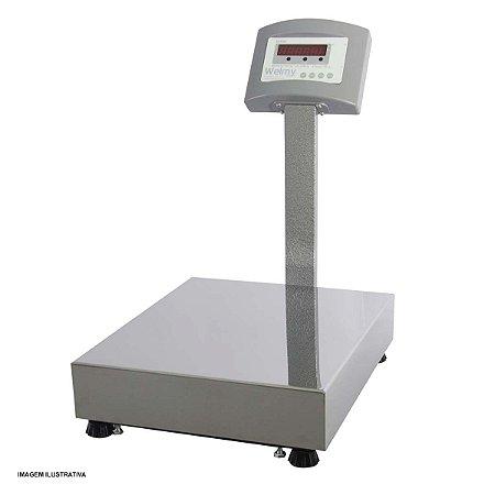 Balança Eletrônica Plataforma Inox 100 Kg Com Coluna e Bateria Visor Lcd Welmy
