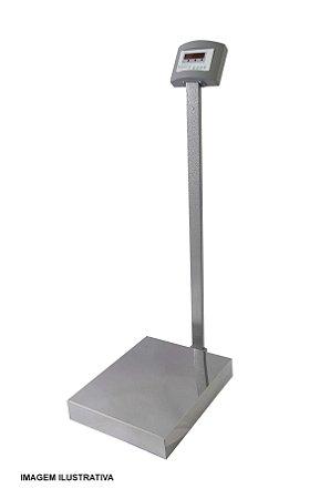 Balança Eletrônica Plataforma 50x60cm Inox 300 Kg Com Coluna e Bateria Visor Lcd Welmy