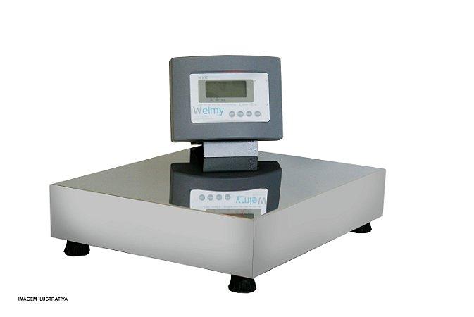 Balança Eletrônica Plataforma Inox 300 Kg Sem Coluna e Com Bateria Visor Lcd Welmy