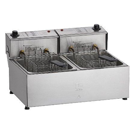 Fritadeira Elétrica Profissional em Aço Inox 16 Litros 2 Cubas 8 Litros Edanca