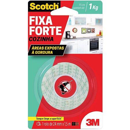 FITA DUPLA FACE SCOTCH FIXA FORTE COZINHA 24MMX1,5M - 3M