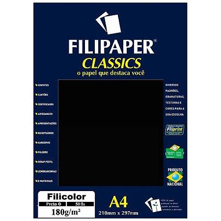 PAPEL FILICOLOR 180 G/M² A4 PRETO C/50 FLS - FILIPERSON