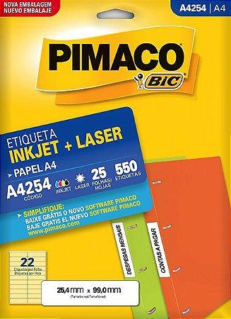 ETIQUETA A4 A4254 25 FOLHAS - PIMACO
