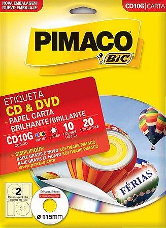 ETIQUETA CARTA CD10G BRILHANTE CD & DVD 10 FOLHAS - PIMACO