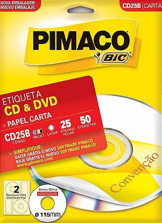 ETIQUETA CARTA CD25B CD & DVD 25 FOLHAS - PIMACO