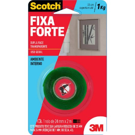 FITA DUPLA FACE SCOTCH FIXA FORTE TRANSPARENTE 24MMX2M - 3M