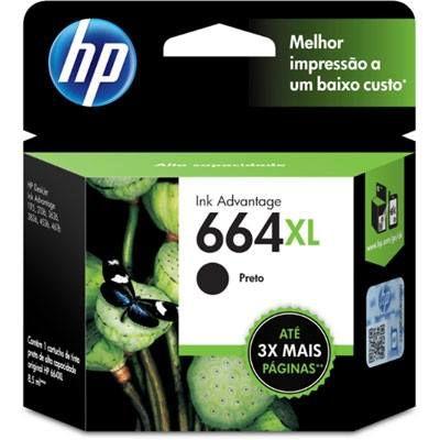 CARTUCHO HP 664XL F6V31AB PRETO - 6,5ML