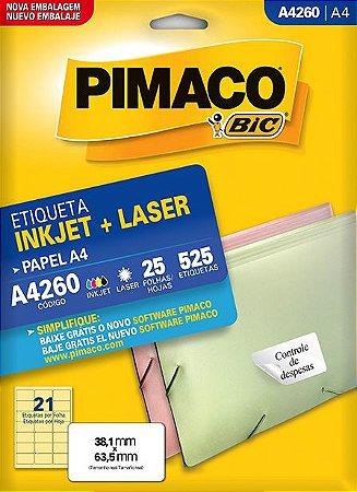 ETIQUETA A4 A4260 25 FOLHAS - PIMACO