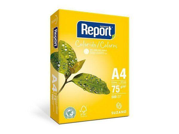 PAPEL REPORT COLORIDO A4 210MMX297MM AMARELO - 500 FLS