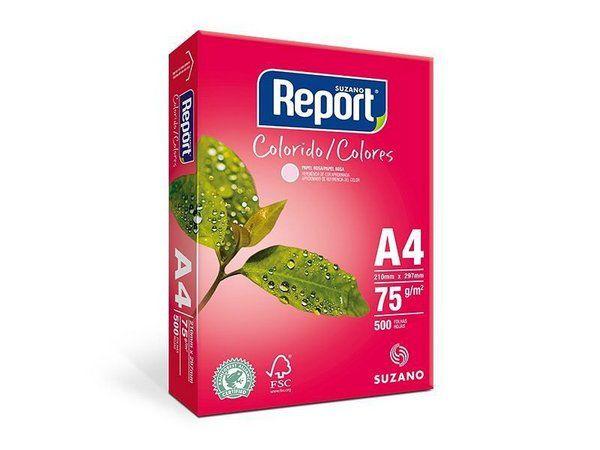 PAPEL REPORT COLORIDO A4 210MMX297MM ROSA - 500 FLS